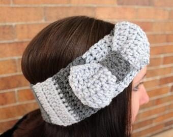 Ear Warmer Bow Headband - Grey - Winter Hair Accessories by Julian Bean