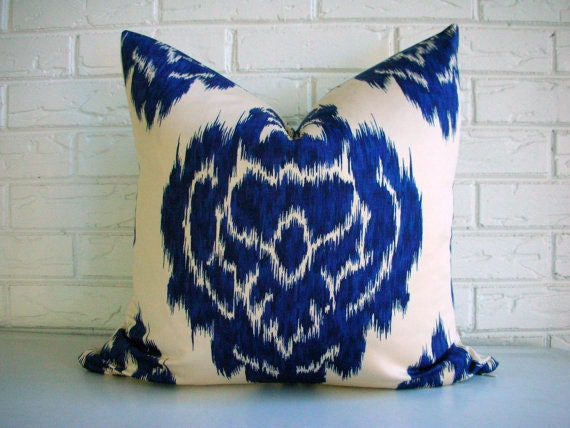 Cobalt Blue Ikat Pillow Cover - Moroccan Throw - Duralee Kalah