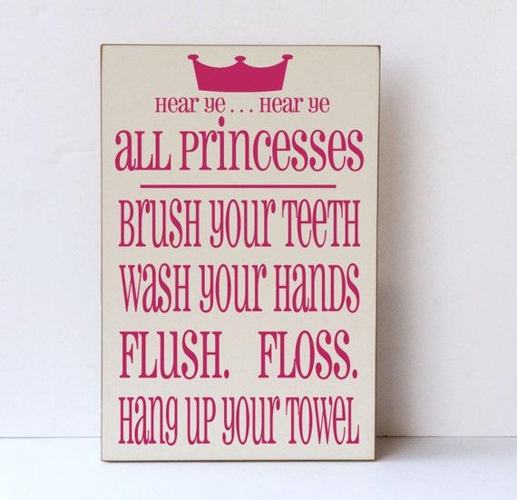 Bathroom hygiene signs - Princess Bathroom Rules Wooden Sign Princess Decor Girl Bathroom
