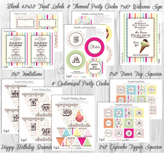 Ice Cream Party Decorations, Printable Party By Cutie Putti Paperie