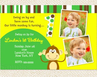 Monkey Birthday Invitations, Twins Birthday invitations, Monkey Invitations, DIY printables
