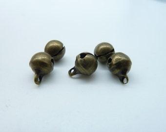 50 pcs 6.5mm Antique Bronze Bell Charms Pendant (Rock Sound Happened) C1474