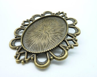3pcs 51x60mm-30x40mm Antique Bronze Cameo Cabochon Base Setting Brooch With Safe Pin  C1855