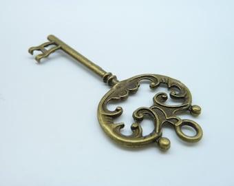 5pcs 30x70mm Antique Bronze Lovely Filigree  Key Charm Pendant c1876