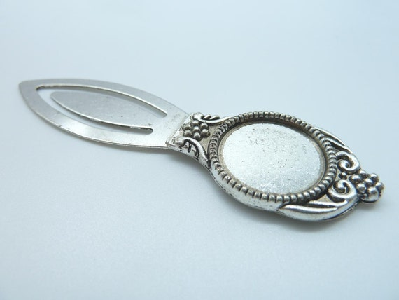 3pcs 21x80mm-18mm Antique Silver Brass Round Cameo Cabochon Base Setting Bookmark  B330