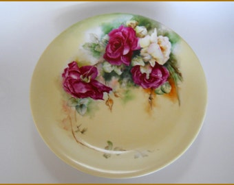 """Antique LIMOGES Porcelain Charger Plate Hand Painted Red Roses - 12"""" Signed"""