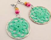 Dangle Earrings - Handmade Mint Green Crochet and Pink and Yellow Wooden Bead Earrings