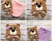 Twin Little Miss Bear Beanies and Swaddle Sacks in Light Taupe, Purple, Pink and Ecru in Newborn Size- MADE TO ORDER