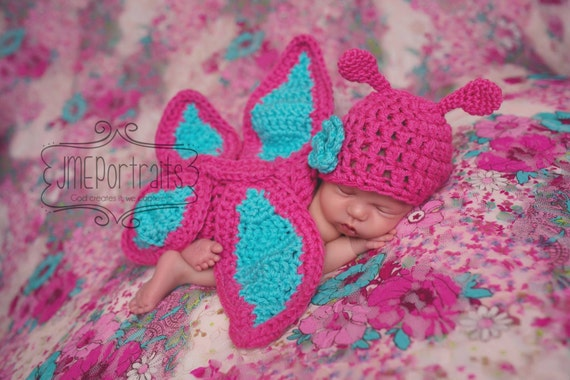 Butterfly Hat and Cuddle Cape Set in Newborn Size- MADE TO ORDER