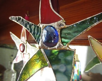 3 Stained Glass SASSY STAR Ornaments