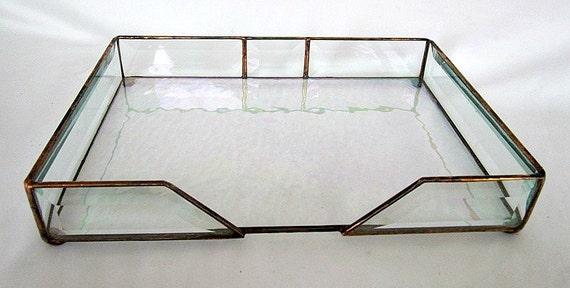 Desk top organizer glass display box bevel by shopworksofglass - Glass desk organizer ...