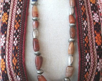 Long Tribal necklace with old African faceted Carnelians and Omani silver beads plus stone frog