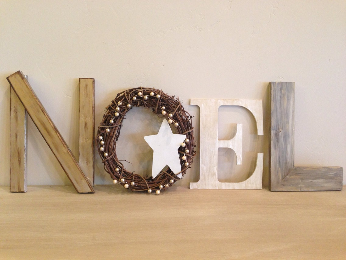 Christmas decor gold noel noel letters rustic by for Decoration 9 letters