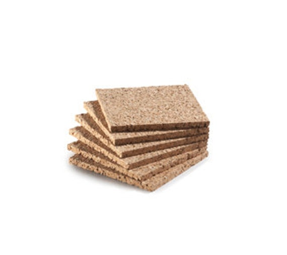 "SALE Cork Coasters Square, 4 "", 6 mm, 1/4"" Natural Cork, Coaster Cork, Package of Six New Cork Coasters"