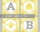 Honeycomb Bee Banner Letters - A-Z - Printable PDF