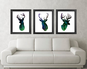 Antler, Stag, Deer Print Set of 3 - Minimalist Art - Watercolor Poster Silhouette Art - Print - Wall Decor, Home Decor, Gifts (02)