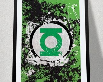 Green Lantern Splatter Poster Print Superhero Kids Wall Art Decor Nursery Batman Comic Book Superheroes Super Hero