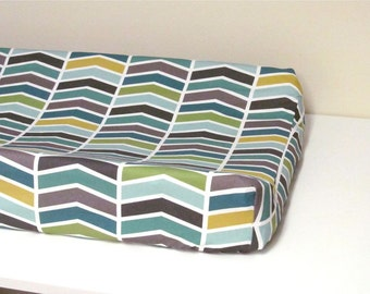 Baby Changing Pad Cover, Contoured, Chevron, Baby Nursery, White, Grey, Teal, Gold, Aqua