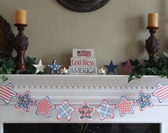 July 4th Banner - AMERICANA - Star Shape #30