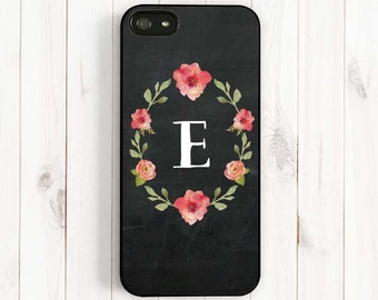 Chalkboard iPhone 7 6 Case - Watercolor Rose Samsung Galaxy S5 S4 S3, Note 3 Case, Personalized Initial iPhone 6 Plus 5s 5c 5 4s Case Ch30
