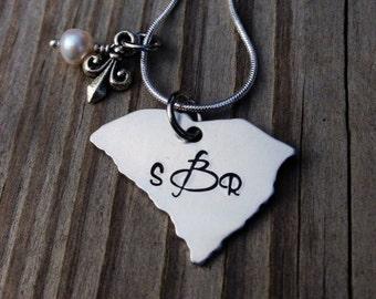 Gorgeous, hand stamped South Carolina Love monogram necklace, custom, unique