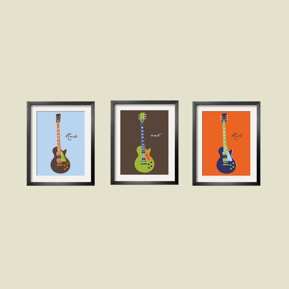 boy Wall Art, nursery decor Guitar Art Children's Wall Art in blue, brown, orange and  lime green 3 pc set 11x14 by Yassisplace.etsy.com