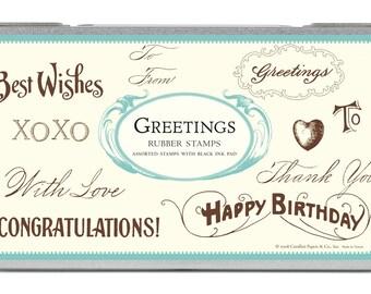 Cavallini Co. Greetings Rubber Stamp Set NIB
