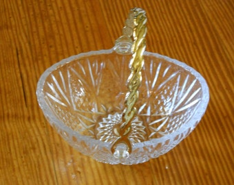 Glass Candy Dish with Gold Tone Handle