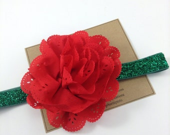Christmas Headband Red Headband Green Glitter Eyelet Flower Headband Holidays Photo Prop