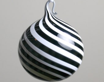 black and white swirl blown glass ornament