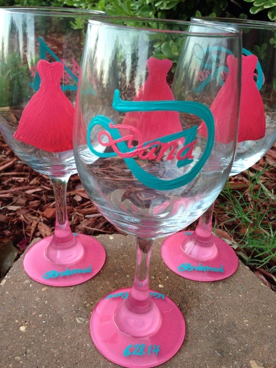 Wedding wine glass Coral and Teal bridesmaid wineglass with monogram and name on back Bridal party dress wine glasses