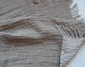 Vintage linen Blanket-- Beige & White--Throw--natural--home decor--double face