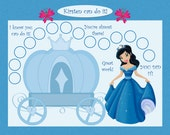PRINTABLE Personalized Kids Chore Chart - Blue Princess Adventure- Printable Jpeg or PDF