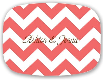 Personalized Melamine Platter,  Monogrammed Serving Tray - Wedding/ Hostess Gift   Monogram Chevron Platter
