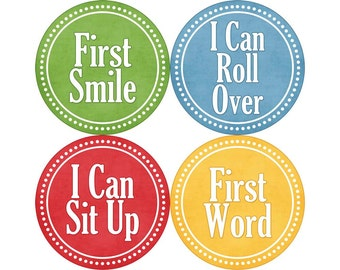 Baby's First Milestone Stickers, I Can Crawl, I Can Walk, First Tooth, First Word, First Smile, and More, Photo Props (N028-M)