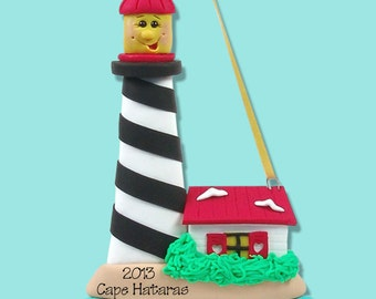 Larry LIGHTHOUSE HANDMADE POLYMER Clay Personalized Christmas Ornament