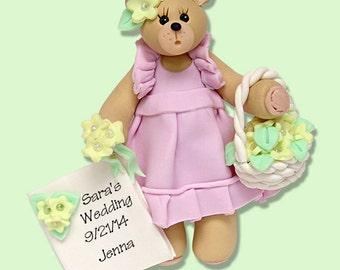 Belly Bear FLOWER GIRL - HANDMADE Polymer Clay Personalized Wedding Ornament