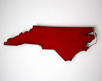 North Carolina metal map wall art - 47x18 - choose your color - NC map wall decor - USA state map - NC art - raleigh charlotte winston maps
