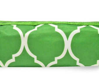Lime green Quatrefoil Pencil tote/brush case from Room It Up, Personalized, monogrammed, embroidered