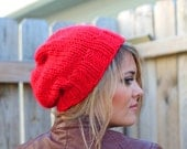 Knitted Slouchy Hat in Claret Red - Sizes Toddler, Child and Woman- Other colors available