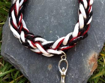 Handmade Lucet braided Triple Goddess Bracelet,mala bracelet, medieval style,Druid,yoga,fibre, pagan red white and black bracelet, boho,knit
