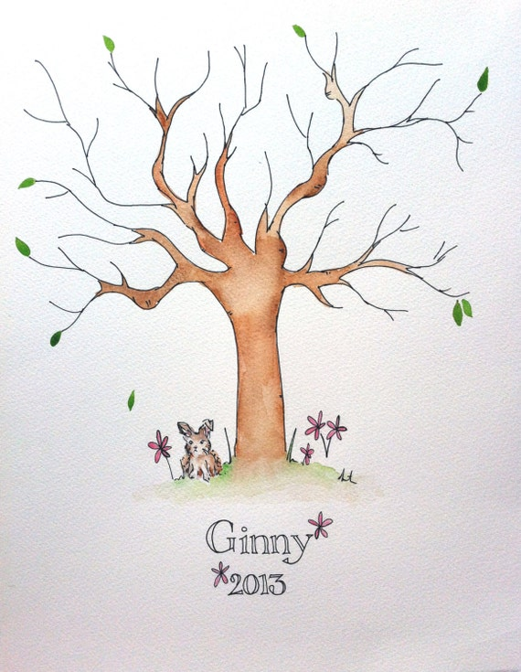 baby shower fingerprint tree guestbook baby guestbook alternative