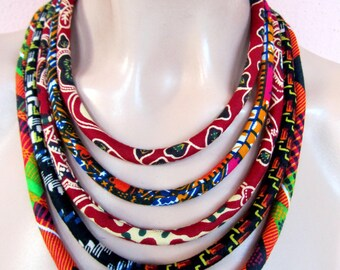 Fabric necklace, african fabric necklace, Cerry Bordeaux  - African wax print,  Bohemian necklace, Tribal necklace, statement necklace,