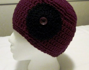 Hand Crocheted Woman or Teen Beanie Hat in Burgundy and Black