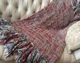 Knit Throw Fringe Home Accent Throw Blanket Decor. Red, Grey, Turquoise Afghan Lap Warmer