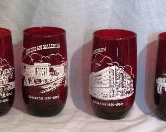 Red Glassware Set of 4 Glasses Kansas City 1850 - 1950