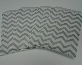 Silver & White Chevron Gift Bags 6x9