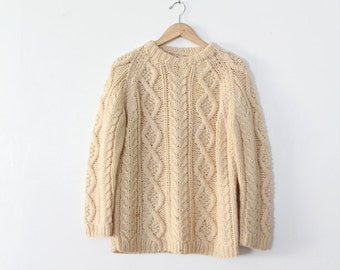 FREE SHIP  1970s fisherman's sweater
