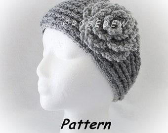 Instant Download to PDF Crochet PATTERN: New Headband w/Lettuce Leaf Rose