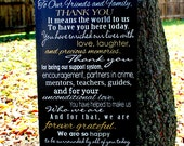 "Thank You Wedding Sign - 12"" x 24"" Made to Order Custom Wedding Sign"